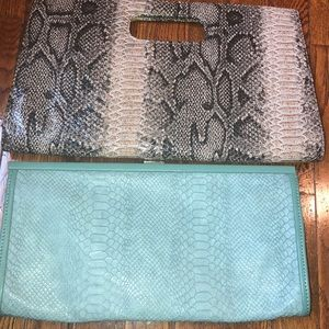 Handbags - Faux snakeskin clutches!